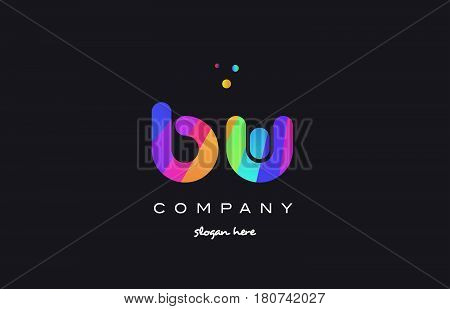 Bw B W  Colored Rainbow Creative Colors Alphabet Letter Logo Icon