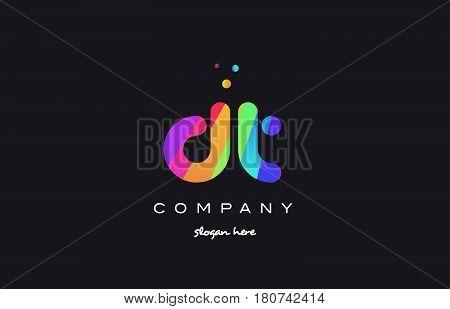 Dt D T  Colored Rainbow Creative Colors Alphabet Letter Logo Icon