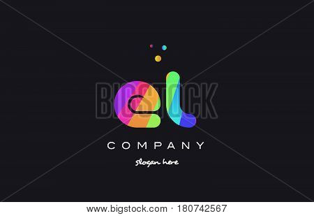 El E L  Colored Rainbow Creative Colors Alphabet Letter Logo Icon