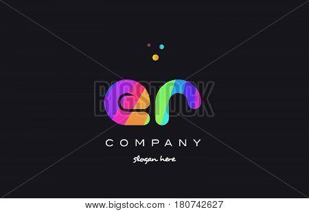 Er E R  Colored Rainbow Creative Colors Alphabet Letter Logo Icon