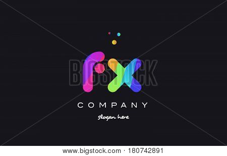 Fx F X  Colored Rainbow Creative Colors Alphabet Letter Logo Icon