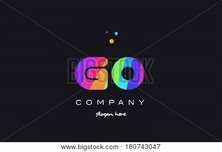 Go G O  Colored Rainbow Creative Colors Alphabet Letter Logo Icon