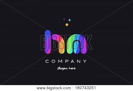 Hm H M  Colored Rainbow Creative Colors Alphabet Letter Logo Icon