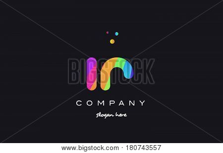 Ir I R  Colored Rainbow Creative Colors Alphabet Letter Logo Icon