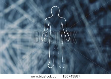 silhouette of person over semi blurred network background concept of man in the digital era