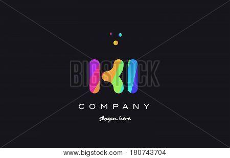 Ki K I  Colored Rainbow Creative Colors Alphabet Letter Logo Icon