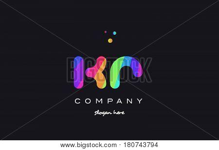 Kr K R  Colored Rainbow Creative Colors Alphabet Letter Logo Icon