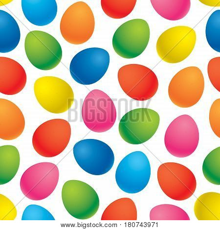 Colorful easter eggs vector seamless pattern. Colorful eggs isolated on a white backgrund.