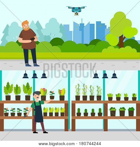 People hobbies horizontal banners with man controlling drone and gardener growing flowers in pots vector illustration