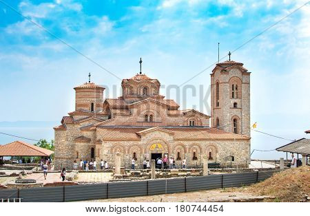 Ohrid, Rep. Of Macedonia - August 6, 2016: The The Wedding Guests In Front Of Saint Panteleimon Chur