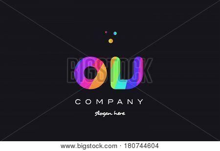 Ov O V  Colored Rainbow Creative Colors Alphabet Letter Logo Icon