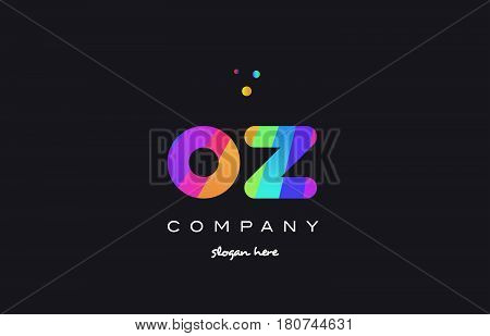 Oz O Z  Colored Rainbow Creative Colors Alphabet Letter Logo Icon