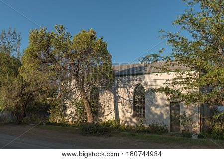 Old hall of the Dutch Reformed Church in Nieu-Bethesda an historic village in the Eastern Cape Province.