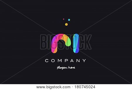 Ri R I  Colored Rainbow Creative Colors Alphabet Letter Logo Icon