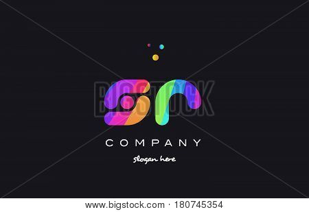 Sr S R  Colored Rainbow Creative Colors Alphabet Letter Logo Icon