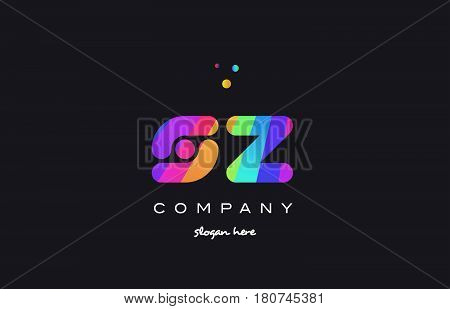Sz S Z  Colored Rainbow Creative Colors Alphabet Letter Logo Icon