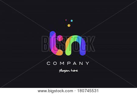 Tn T N  Colored Rainbow Creative Colors Alphabet Letter Logo Icon