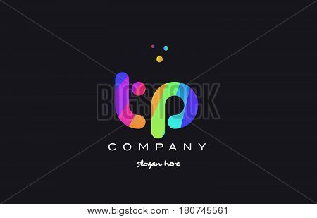 Tp T P  Colored Rainbow Creative Colors Alphabet Letter Logo Icon