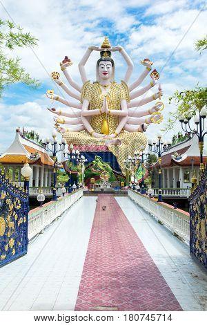 Koh Samui, Thailand - October 21, 2016: Wat Plai Laem, Buddhist Temple On The Resort Samui Island