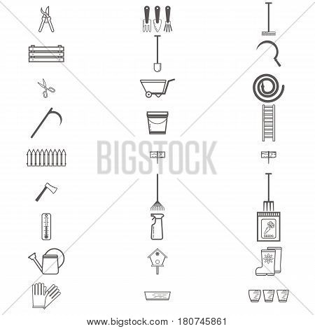 Gardening work tools flat icons set. Equipment for working in garden, gloves, secateurs, seeds, shovel, watering can. Flat vector illustration. Set of icons