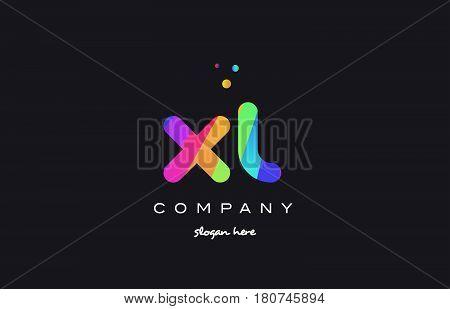 Xl X L  Colored Rainbow Creative Colors Alphabet Letter Logo Icon