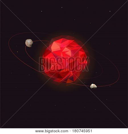 Mars planet of the solar system. Mars with two natural moons - Phobos and Deimos. Outer space of the planet with orbital satellites. Illustration science of the Universe