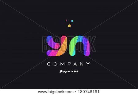 Yn Y N  Colored Rainbow Creative Colors Alphabet Letter Logo Icon