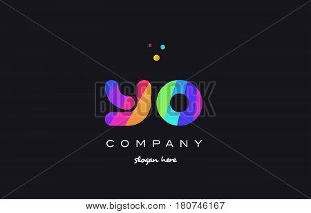 Yo Y O  Colored Rainbow Creative Colors Alphabet Letter Logo Icon