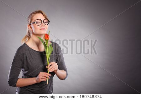 Charming Woman Smelling Flower Feel Peace.
