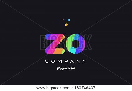 Zo Z O  Colored Rainbow Creative Colors Alphabet Letter Logo Icon