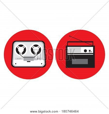 Bobbin tape recorder, radio in retro style in circle, vector illustration