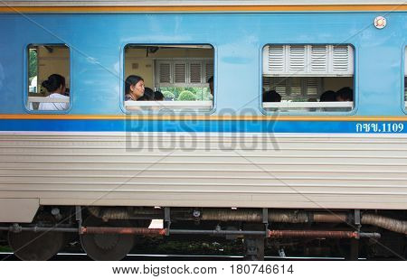 Hua Hin, Thailand - October 24, 2016: People Sitting In The Third Class Train To Start The Journey