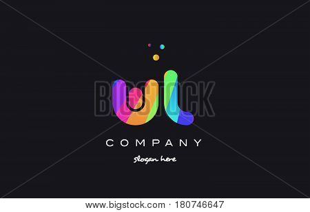 Wl W L  Colored Rainbow Creative Colors Alphabet Letter Logo Icon