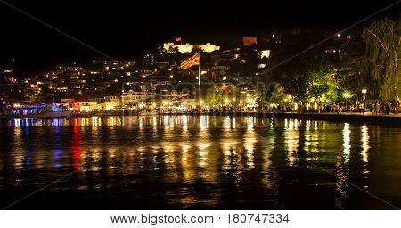 Ohrid, Rep. Of Macedonia - August 3, 2016: Old Town Reflected In