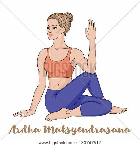 Women silhouette. Half Lord of Fishes Yoga Pose. Ardha Matsyendrasana. Vector illustration