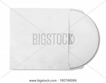 CD with paper bag isolated on white background