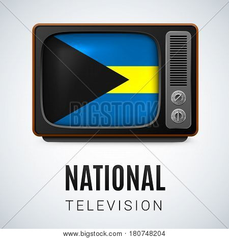 Vintage TV and Flag of the Bahamas as Symbol National Television. Button with Bahamian flag