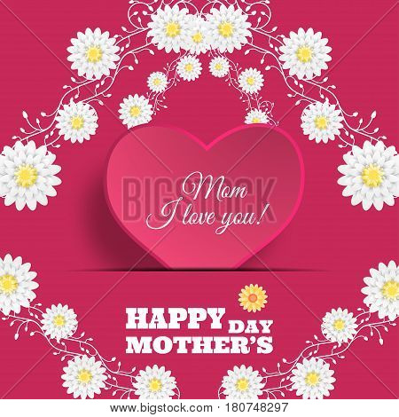 Happy Mother's Day vector poster on the gradient pink background with heart shape insert in the paper pocket text and flowers.