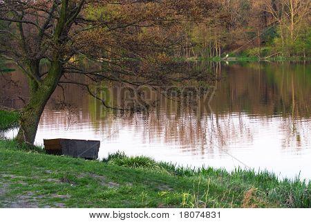 schöne Art des Flusses mit Reflektion der Bäume