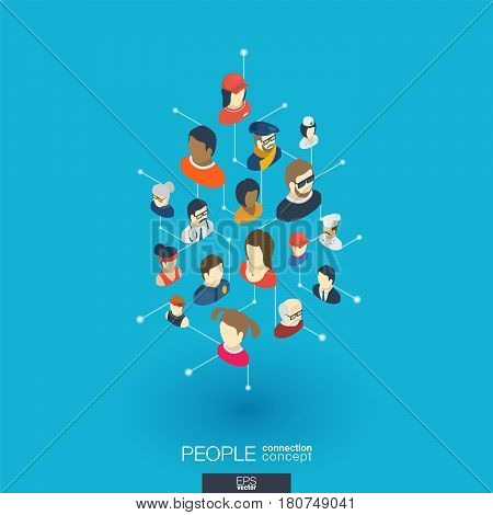Community integrated 3d web icons. Digital network isometric interact concept. Connected graphic design dot and line system. Abstract background whith different people occupation. Vector Infograph