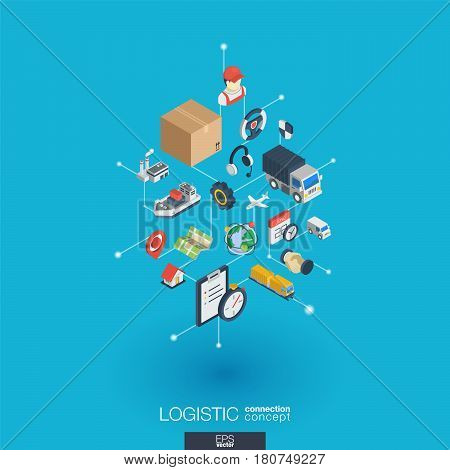 Logistic integrated 3d web icons. Digital network isometric interact concept. Connected graphic design dot and line system. Abstract background for shipping delivery and distribution. Vector Infograph