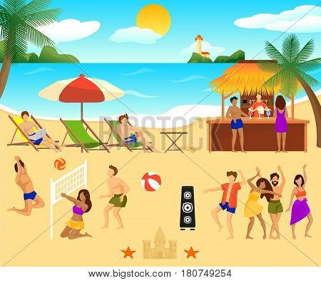 Tropical beach elements set with people sitting in chaise longue dancing playing volleyball and drinking cocktails vector illustration