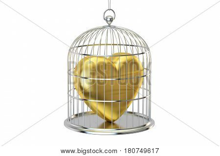 Birdcage with golden heart 3D rendering isolated on white background