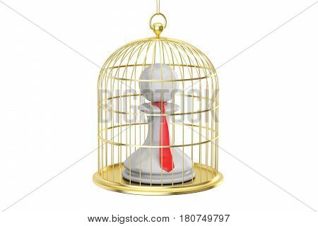 Birdcage with office clerk inside 3D rendering isolated on white background