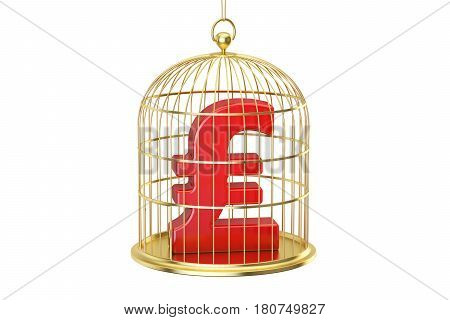 Birdcage with pound sterling currency symbol inside 3D rendering isolated on white background