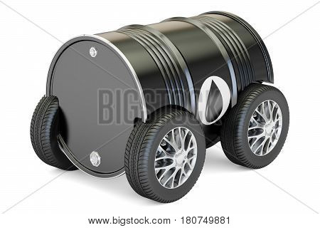 black oil barrel with car wheels transportation and delivery concept. 3D rendering isolated on white background