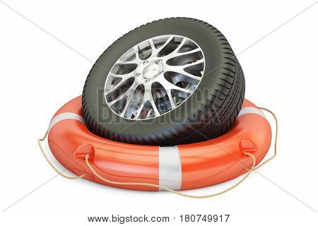 car wheel with lifebelt service and repair concept. 3D rendering isolated on white background