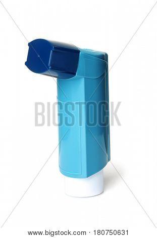 Asthma inhaler on white background