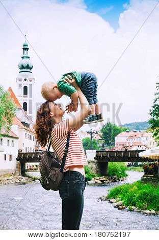 Family Of Tourists In Cesky Krumlov, Czech Republic, Europe
