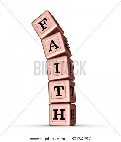 Faith Word Sign. Falling Stack of Rose Gold Metallic Toy Blocks. 3D illustration isolated on white background.